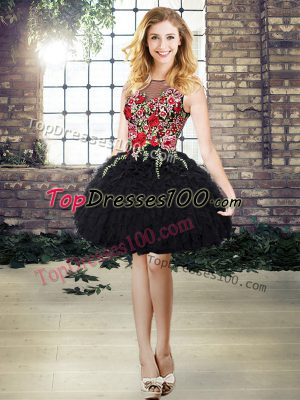 Comfortable Black Lace Up Scoop Embroidery and Ruffles Prom Gown Organza Sleeveless