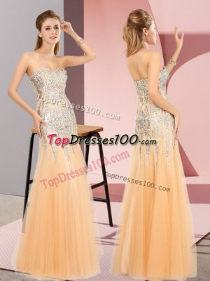 Floor Length Zipper Prom Party Dress Orange for Prom and Party with Beading