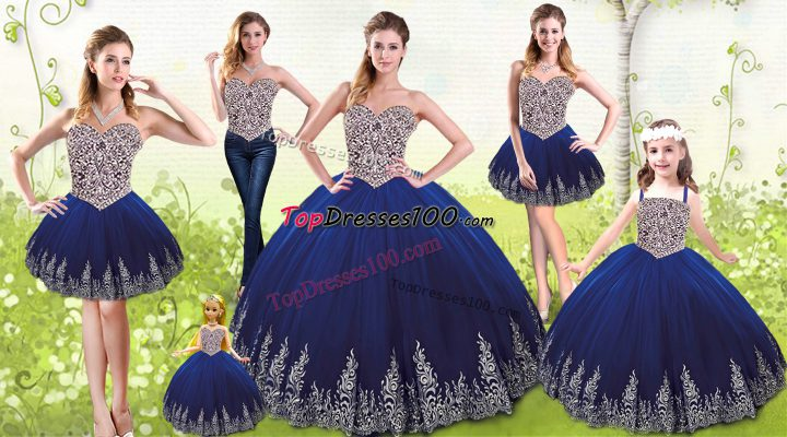 High End Floor Length Lace Up Sweet 16 Quinceanera Dress Royal Blue for Military Ball and Sweet 16 and Quinceanera with Beading and Appliques