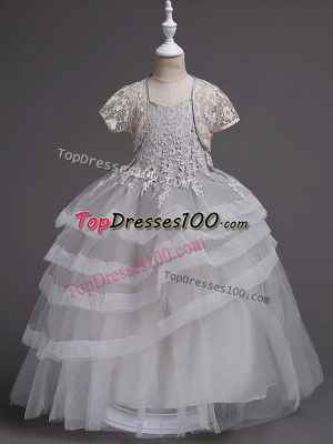 Exceptional Sleeveless Tulle Floor Length Zipper Toddler Flower Girl Dress in Grey with Appliques and Ruffled Layers