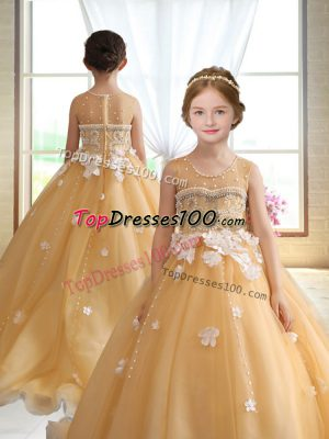 Gold Little Girls Pageant Gowns Wedding Party with Beading and Appliques Scoop Sleeveless Brush Train Zipper
