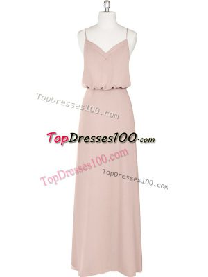 Floor Length Zipper Homecoming Dress Baby Pink for Prom and Party with Ruching