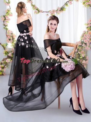 High Low Bridesmaids Dress Black for Prom and Party and Wedding Party with Appliques