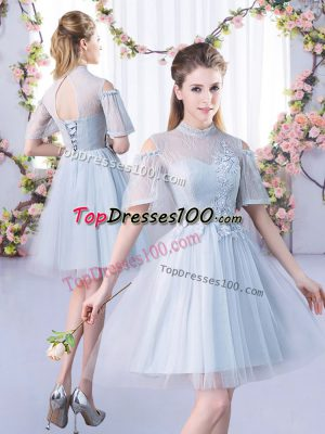 Grey Bridesmaids Dress Prom and Party and Wedding Party with Lace High-neck Short Sleeves Lace Up