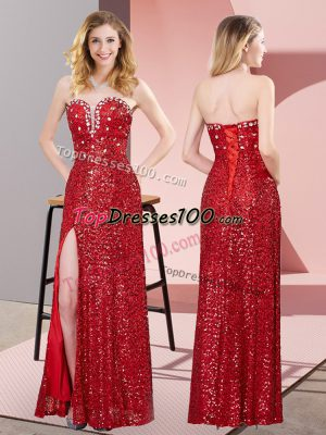 Pretty Sleeveless Beading and Lace Lace Up Prom Evening Gown