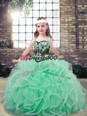 Embroidery and Ruffles Pageant Gowns For Girls Apple Green Lace Up Sleeveless Floor Length