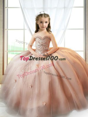 Fashion Sleeveless Tulle Floor Length Lace Up Girls Pageant Dresses in Pink with Beading and Appliques