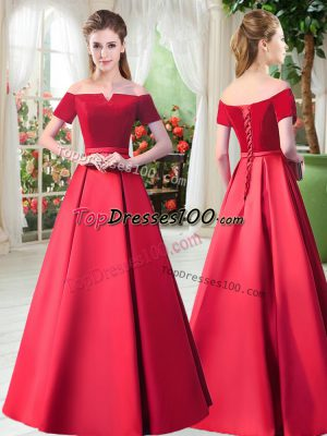 Discount Off The Shoulder Short Sleeves Lace Up Dress for Prom Red Satin