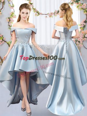 A-line Bridesmaid Dresses Light Blue Off The Shoulder Satin Sleeveless High Low Lace Up