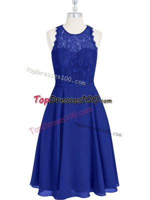 Deluxe Scoop Sleeveless Chiffon Homecoming Dress Lace Zipper