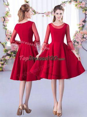 High End Red 3 4 Length Sleeve Satin Zipper Bridesmaid Dress for Prom and Party and Wedding Party