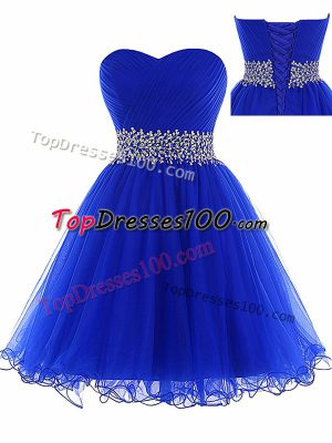 Clearance Sweetheart Sleeveless Tulle Prom Party Dress Ruching Lace Up