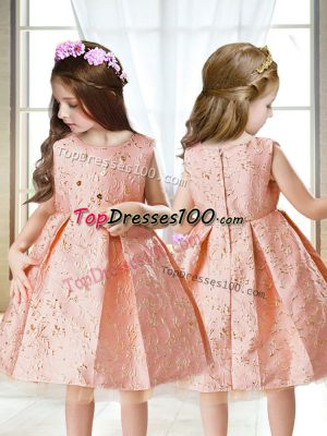 Trendy Pink Sleeveless Embroidery Mini Length Pageant Gowns For Girls