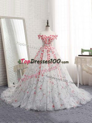 Modest White Ball Gown Prom Dress Off The Shoulder Sleeveless Brush Train Lace Up