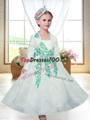 Dynamic Straps Sleeveless Flower Girl Dress Ankle Length Embroidery White Lace