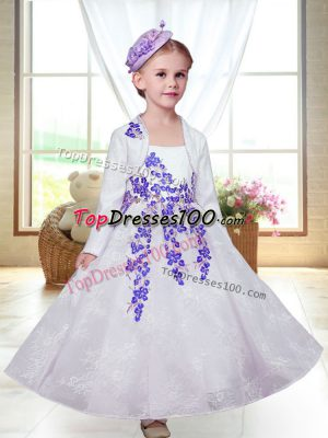 Dramatic Sleeveless Lace Ankle Length Zipper Flower Girl Dresses for Less in White with Embroidery