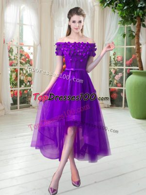 Amazing Off The Shoulder Short Sleeves Homecoming Dress High Low Appliques Purple Tulle