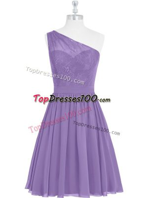 Elegant Sleeveless Knee Length Lace Side Zipper Dress for Prom with Lavender