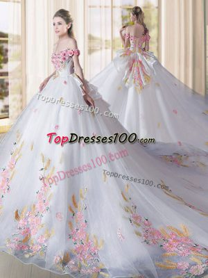 White Sweet 16 Dresses Off The Shoulder Sleeveless Cathedral Train Lace Up