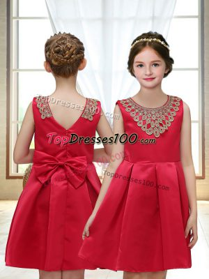 Dynamic Sleeveless Satin Mini Length Zipper Toddler Flower Girl Dress in Red with Appliques