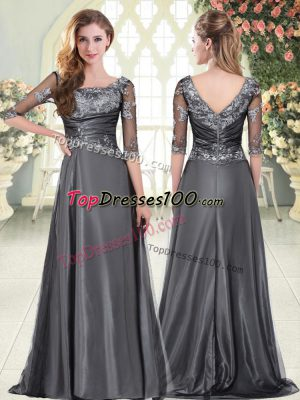 Glittering Scalloped Half Sleeves Taffeta Prom Evening Gown Beading and Lace and Appliques Zipper