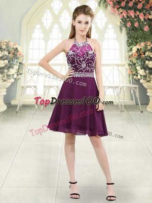 A-line Prom Party Dress Purple Halter Top Chiffon Sleeveless Knee Length Zipper