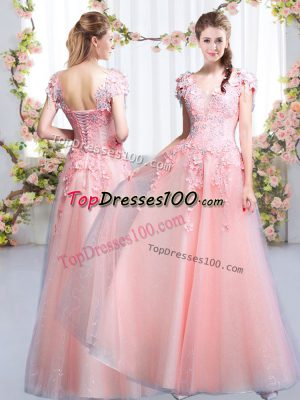Custom Fit Tulle Cap Sleeves Floor Length Bridesmaid Gown and Beading and Appliques