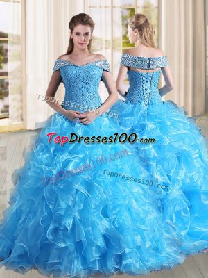 Glamorous Baby Blue Off The Shoulder Lace Up Beading and Lace and Ruffles 15 Quinceanera Dress Sweep Train Sleeveless