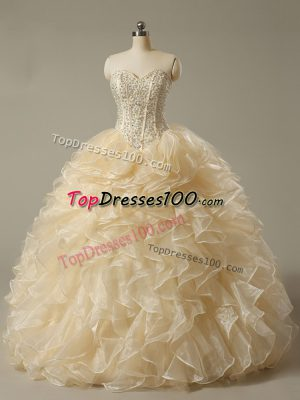 Champagne Sleeveless Beading and Ruffles Floor Length Quinceanera Gown