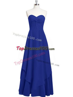 Affordable Royal Blue Sleeveless Chiffon Zipper Prom Dress for Prom and Party and Military Ball