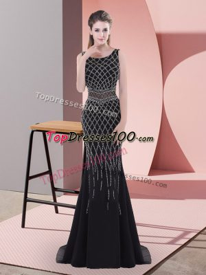Black Scoop Neckline Beading Dress for Prom Sleeveless Backless