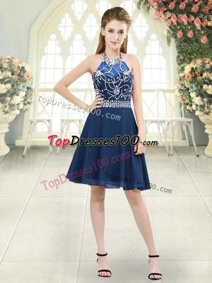 Gorgeous Blue Chiffon Zipper Halter Top Sleeveless Knee Length Prom Party Dress Beading