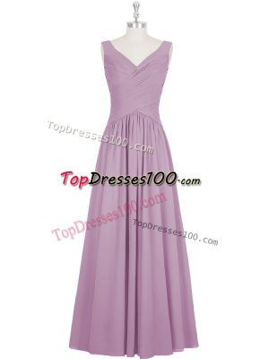 On Sale Purple Zipper Evening Dress Ruching Sleeveless Floor Length