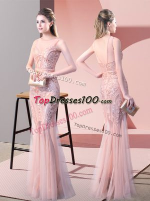 Customized Tulle Scoop Sleeveless Backless Sequins Prom Party Dress in Pink