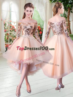 Discount Peach Lace Up Prom Dresses Sequins 3 4 Length Sleeve High Low