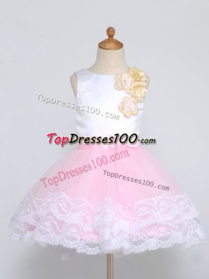 Dazzling Sleeveless Zipper Mini Length Lace and Appliques Flower Girl Dress