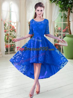 High Low A-line Half Sleeves Blue Prom Evening Gown Zipper