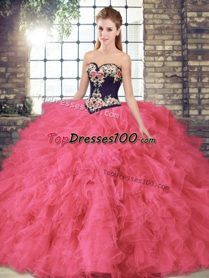 Exquisite Floor Length Lace Up Quinceanera Gown Hot Pink for Sweet 16 and Quinceanera with Beading and Embroidery