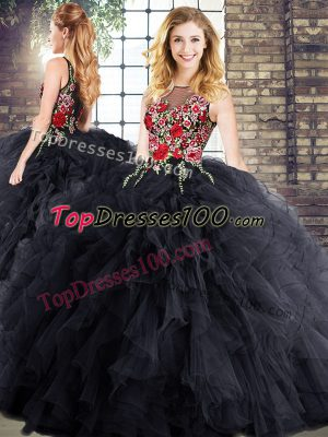 Low Price Sleeveless Floor Length Embroidery and Ruffles Zipper Vestidos de Quinceanera with Black