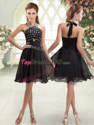 Black Halter Top Lace Up Beading Dress for Prom Sleeveless