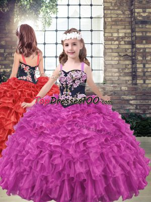 Sleeveless Embroidery and Ruffled Layers Lace Up Kids Formal Wear