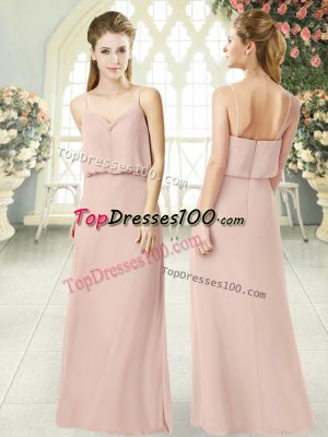 Trendy Pink Empire Spaghetti Straps Sleeveless Chiffon Floor Length Zipper Ruching Prom Gown