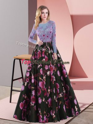 Floor Length A-line Long Sleeves Multi-color Dress for Prom Lace Up
