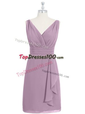 Exceptional Purple Sleeveless Ruching Knee Length Prom Gown