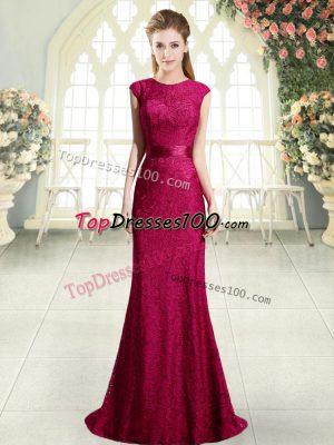 Backless Evening Dress Red for Prom and Party with Beading and Lace Sweep Train
