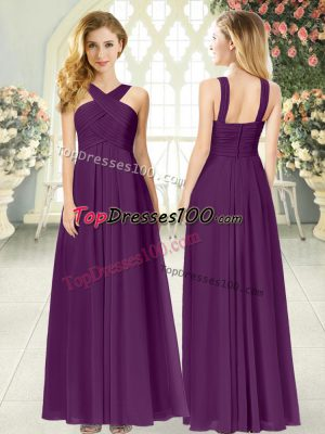 Floor Length Purple Prom Evening Gown Chiffon Sleeveless Ruching