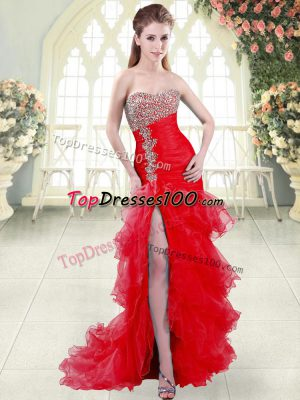 Amazing Red Mermaid Beading and Ruffled Layers Prom Party Dress Lace Up Organza Sleeveless