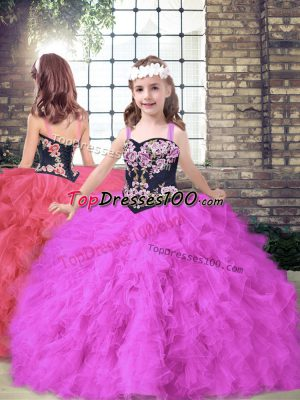 Fuchsia Girls Pageant Dresses Party and Wedding Party with Embroidery and Ruffles Straps Sleeveless Lace Up