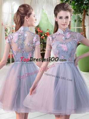 Noble Appliques Dress for Prom Grey Zipper Short Sleeves Knee Length