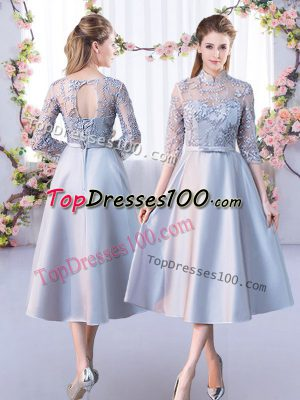 Fantastic Tea Length Lace Up Bridesmaids Dress Silver for Prom and Party and Wedding Party with Lace